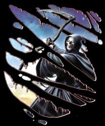 666 - Zerrissenes Reaper Shirt mit Brust oder Rückendruck