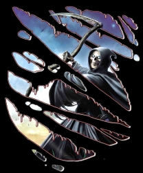 666 - Zerrissenes Reaper Girlieshirt mit Brust oder Rückendruck